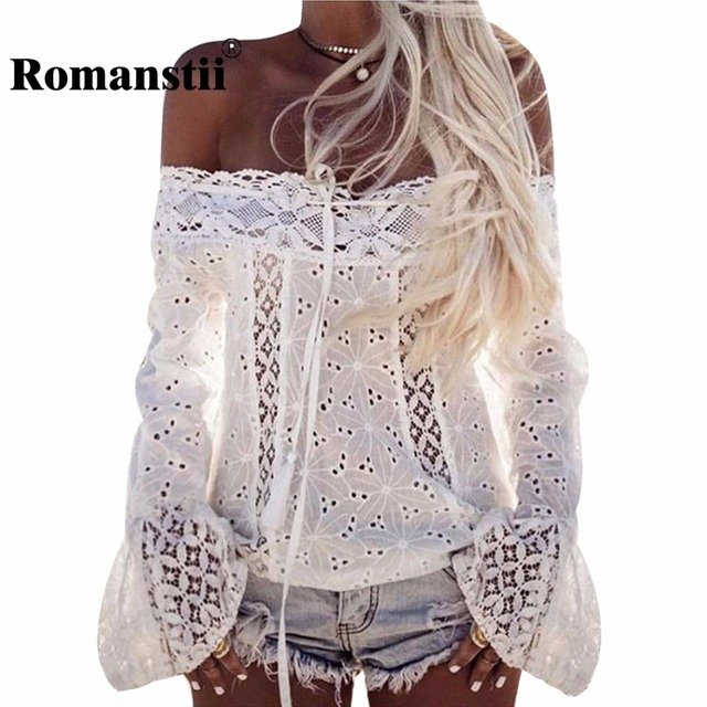 Romanstii Blouse 2017 Summer Cotton Women Shirt Long Bell Sleeve Off Shoulder Top Floral Patchwork Sexy White Lace Blouses Tunic