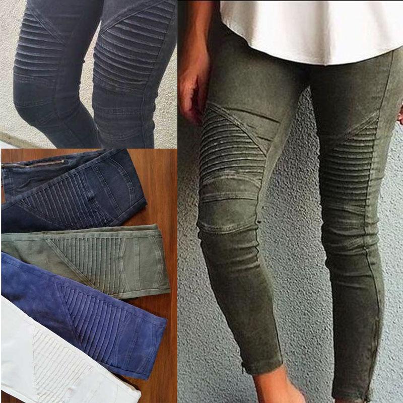 2017 NEW Women Popular Cotton Slim Pants Colorful Denim Jeans Pencil Skinny Ankle Zipper  Pressure Pleated Jeans