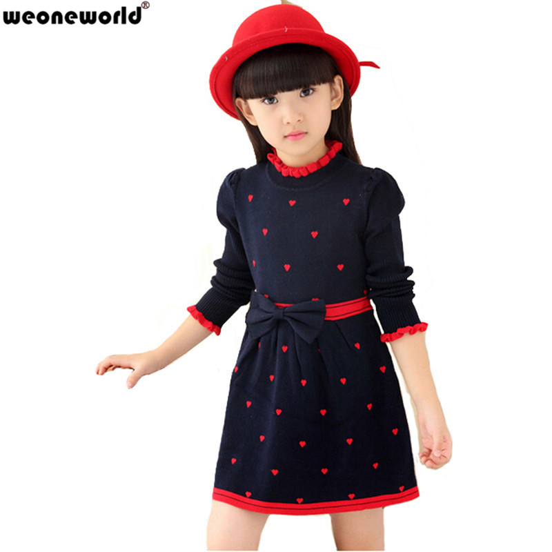 Weoneworld 2017 New Kids Sweater Dress Spring Autumn