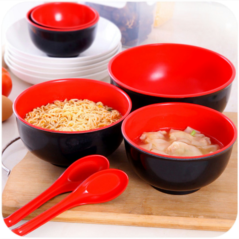 Melamine Red & Black Bowl & Spoon Japanese Style