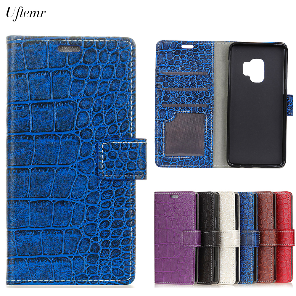 Uftemr Vintage Crocodile PU Leather Cover for Galaxy S9 Silicone Case For Samsung Galaxy S9 Plus Wallet Card Slot Acessories