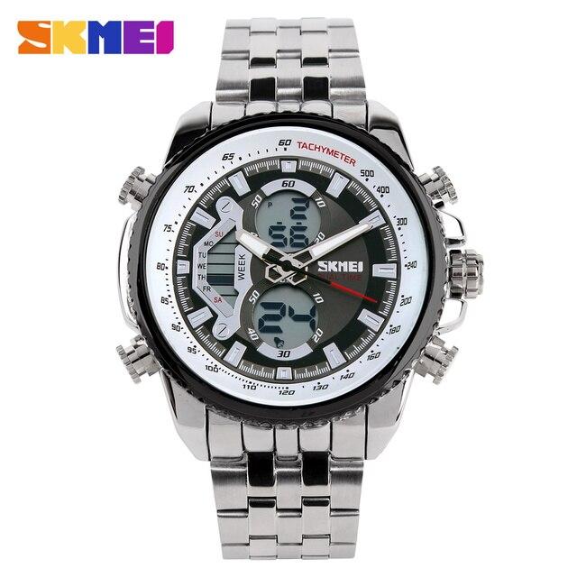Famous Brand Men Sports Watches Full Steel Watch Male Fashion Quartz Clock LED Waterproof Military Wristwatch Relogio Masculino
