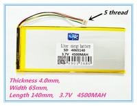 5 Thread High Quality Brand 4065140 3 7V 4500MAH Tablet Battery Brand Tablet Gm Lithium Tablet