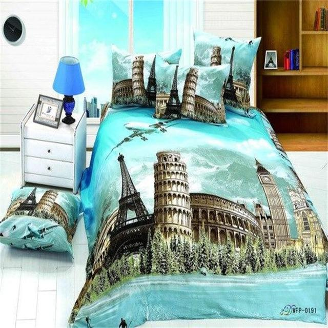 Paris Eiffel Tower London Big Ben Roman Colosseum Pattern Bedding Set Queen  Size 100 Cotton Comforter