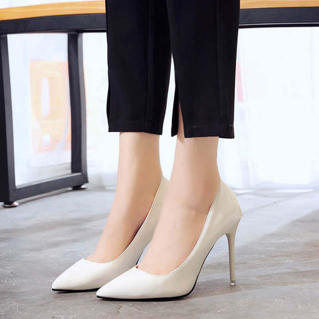 2019 HOT Women Shoes Pointed Toe Pumps Patent Leather Dress  High Heels Boat Shoes Wedding Shoes Zapatos Mujer Blue White 40