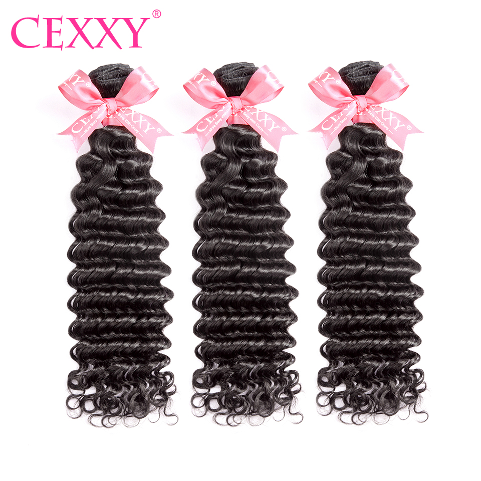 CEXXY 3 Bundles lot Human Hair Bundles Malaysian Hair Weave Bundles Deep Wave Virgin Hair Natural