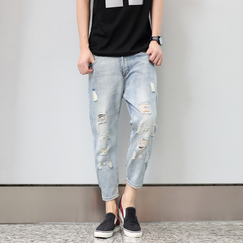 Aliexpress.com : Buy Summer Jeans Men Hole Ripped Stretchy Jeans ...