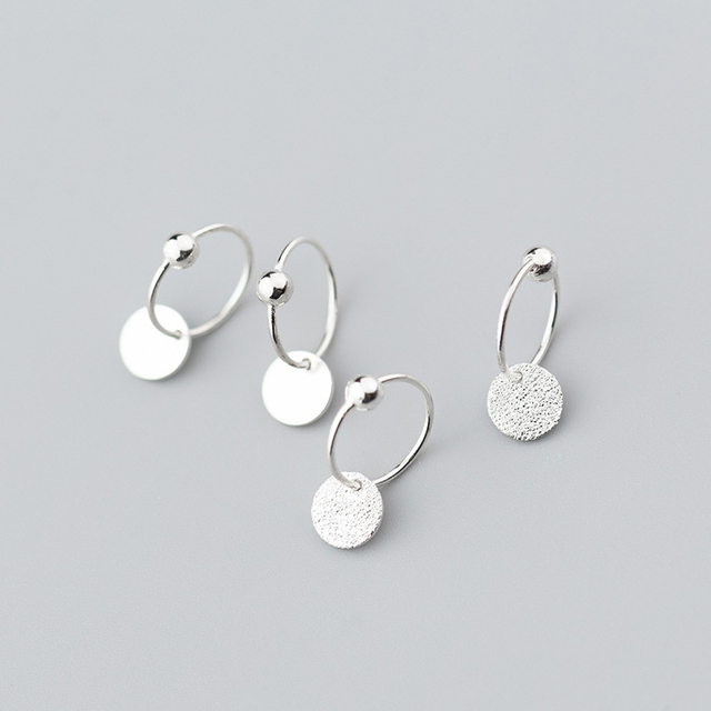 925 Sterling Silver Minimalist Round Bead Classic Hoop Earrings
