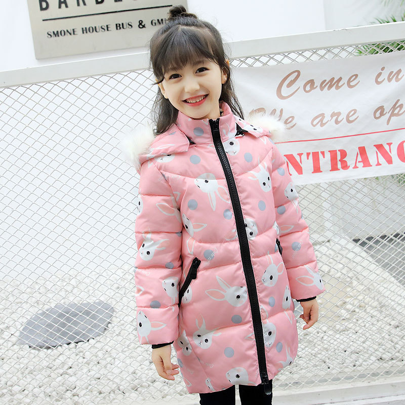 Kids Parkas Coats For Girls 5 6 7 8 9 10 11 12 13 14 15 Cartoon Cotton-padded Outerwear Child Warm Jackets Infant Hooded Clothes