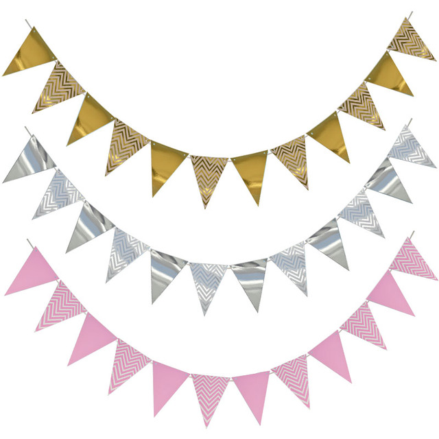 12 Flag Gold Pink Paper Banner For Baby Shower Birthday Party Kids Room Decoration