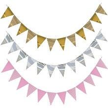 3m 12 bandera oro rosa tablero de papel guirnalda pancarta para Baby Shower decoración de fiesta de cumpleaños decoración de habitación de niños guirnalda banderines