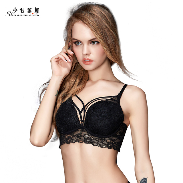 Lingerie, sexy lace gathered on the thick bra suits gather in bra small breasts