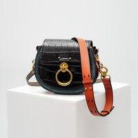 New Saddle Bag Women Handbag Designer Bags Famous Brand Women Messenger Bags Alligator Genuine Leather Vintage Round Bag