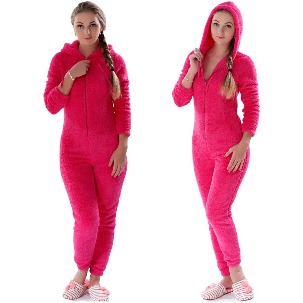 Women Onesies Winter Warm Pyjamas Fluffy Fleece Sleepwear Overall Hood   Sets     Pajamas   Onesie Homewear for Women Adult   Pajama     Set