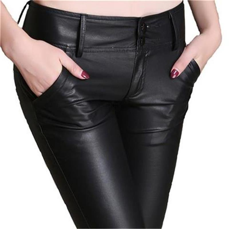 2018 Winter Warm Velvet PU Leather Pants Slim Skinny Pencil Pants Faux Leather Trousers Plus Size Black Leather Leggings Femme