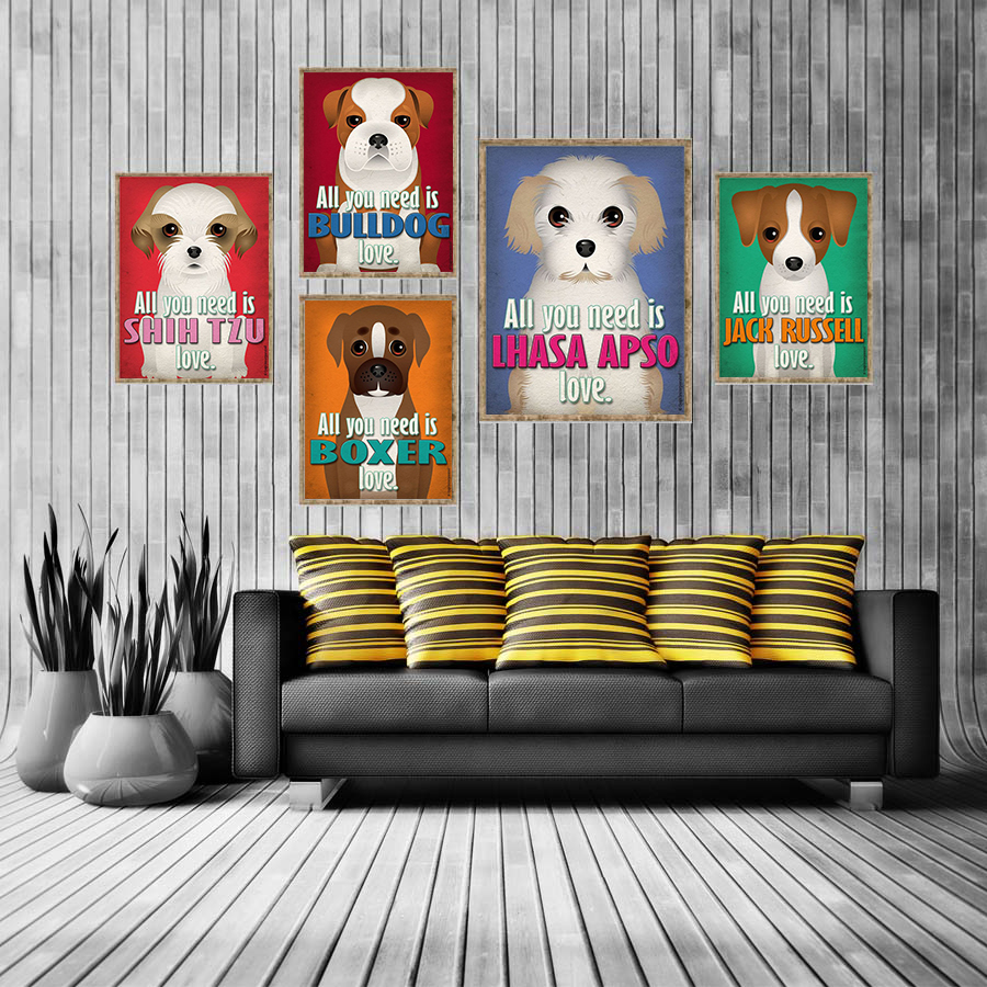 Abstract dog painting all you need is love canvas pictures - What you need to paint a room ...