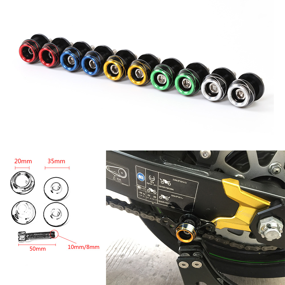 Motorcycle Universal 8mm Or 10mm Swingarm Sliders Spools Swing Arm Paddocks Stand Bobbins Sliders For Racing and Scooter 2pcs universal motorcycle stand screws cnc swingarm swing sliders spools m6 m8 m10 for yamaha r3 honda crf 450 suzuki gn250