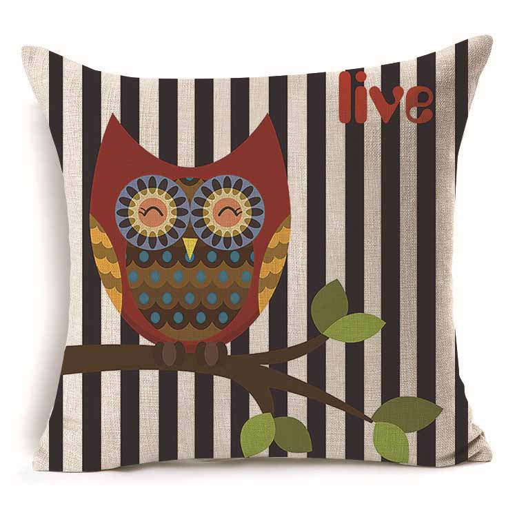 1Pcs 43*43cm Lovely Colorful Owl Pattern Cotton Linen Throw Pillow Cushion Cover Car Home Sofa Decorative Pillowcase 40243