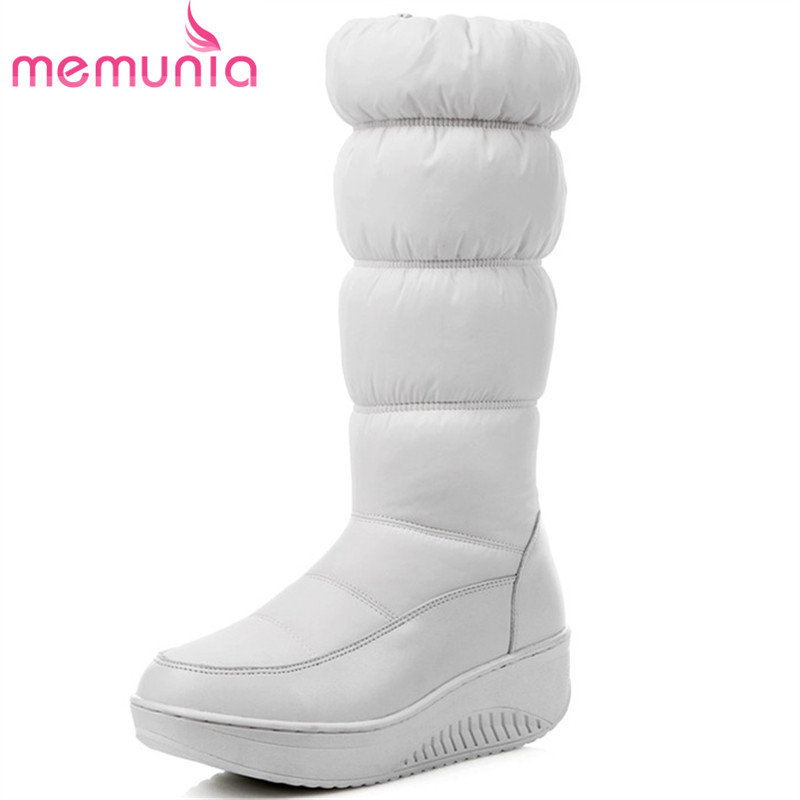 MEMUNIA Large size 35-44 snow boots for women in winter boots fashion women shoes down platform waterproof mid calf boots morazora 2018 new genuine leather snow boots women thick fur warm down mid calf winter boots round toe platform shoes size 35 44