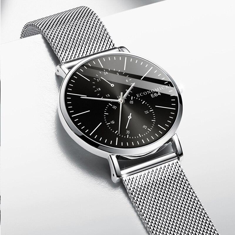 Retro Men Watch Quartz Luxury Design Business Public Male Watches Mesh Strap WristWatch Modern Gift Relogio Masculino