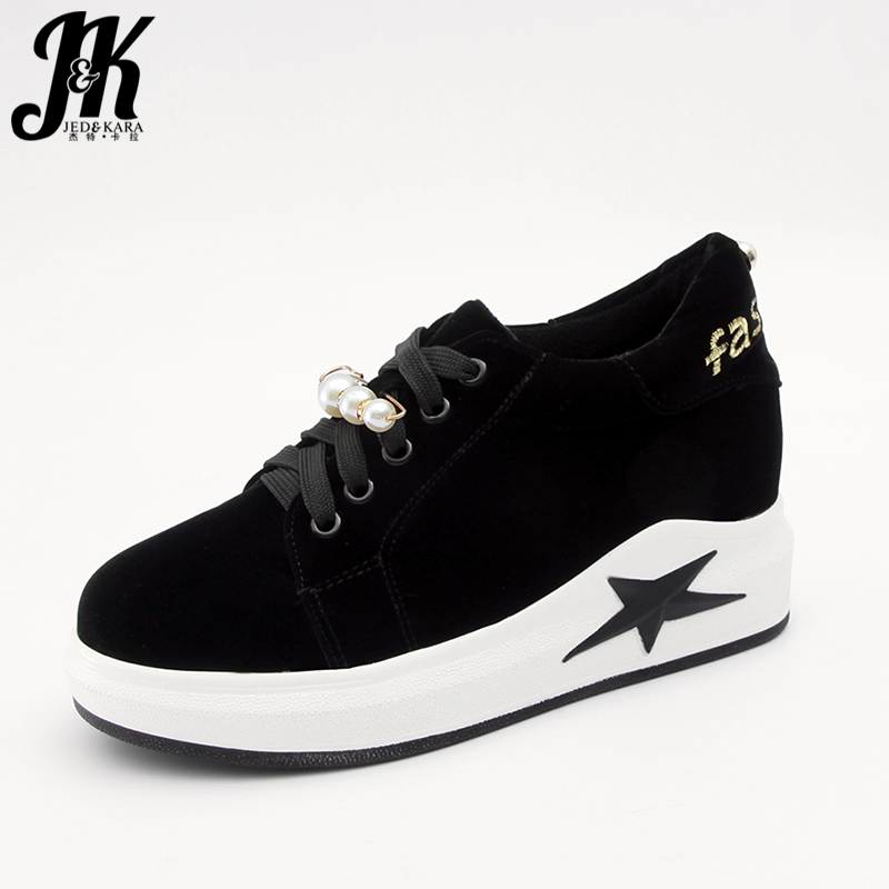 JK Elevator Women Flats 2018 Spring Fashion Flat Outsole Embroidery Girl Casual Shoes Lace Up Platform Pearl Round Toe Footwear