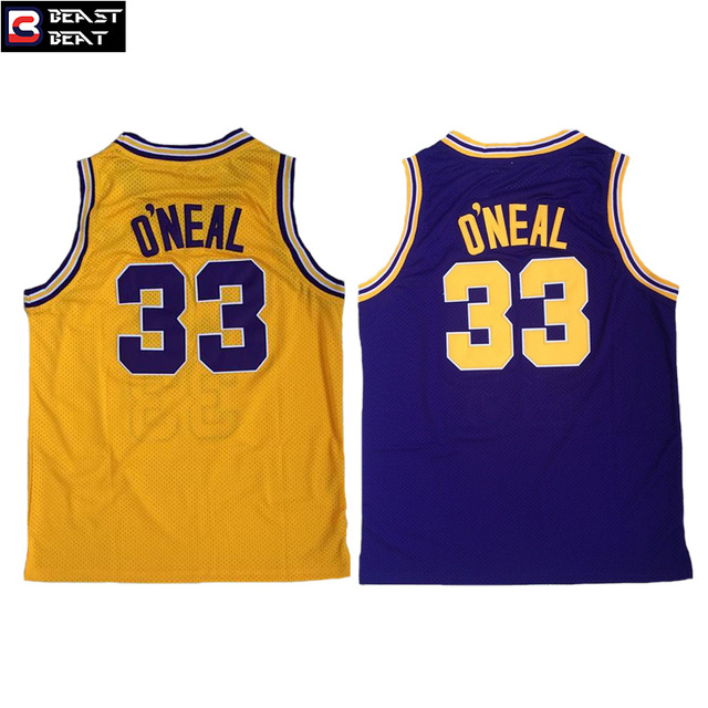 2f36a7eeafd ... Beast Beat Young Shaquille ONeal 33 Louisiana State Student Basketball  Jerseys Yellow Black ...