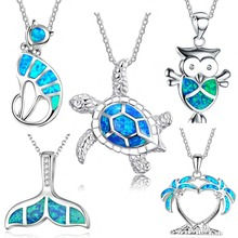 Free Fan 2018 New Cute Imitation Opal Necklace Blue Enamel Plant Animal Pendant Necklace For Women Wedding Party Jewelry Gift