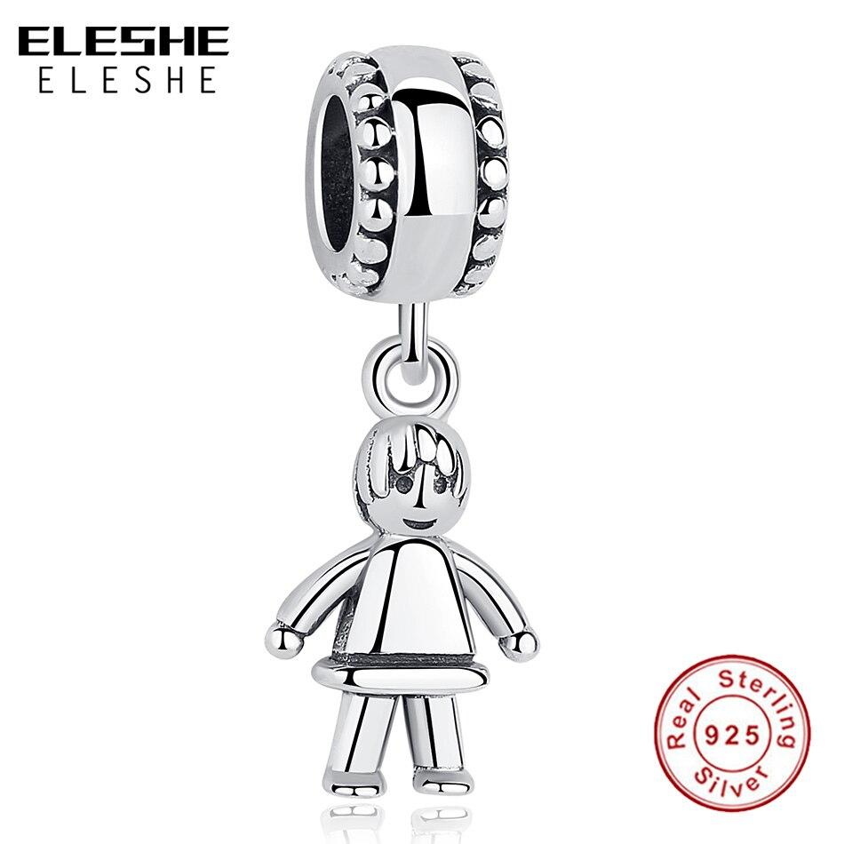 ELESHE New 100% 925 Sterling Silver Little Cute Boy Son Charm Beads fit Original Pandora Bracelet Necklace Pendant DIY Jewelry