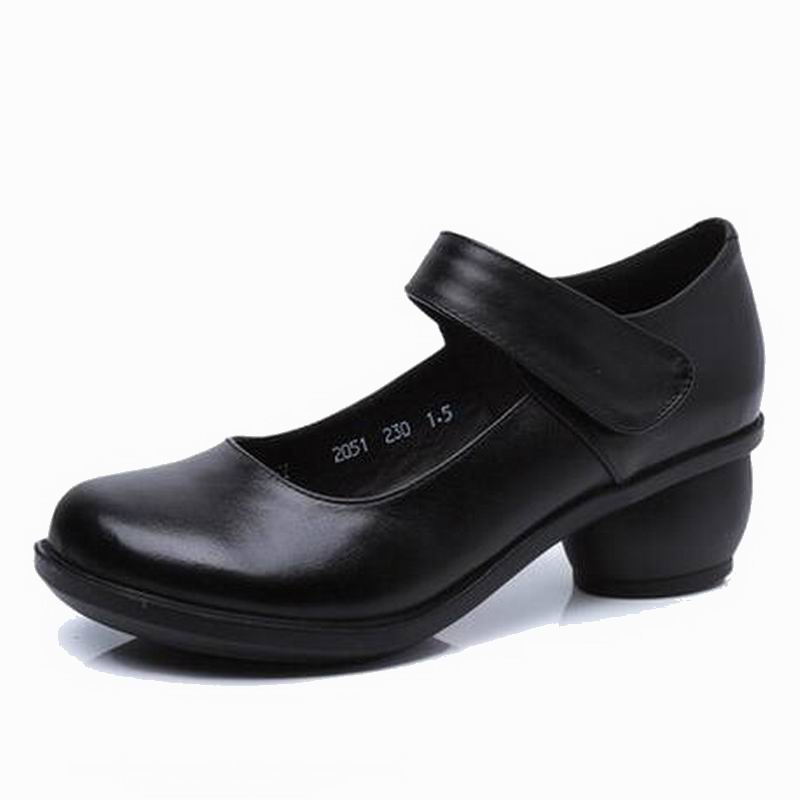 2019 Spring Autumn Shoes Woman 100% Genuine Leather Women Pumps Lady Leather Round Toe Platform Shallow Mouth Shoes #2051-in Women's Pumps from Shoes    2