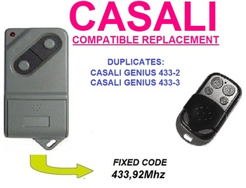 CASALI Genius 433 2 or Genius 433 3 Universal remote control garage door gate Universal RF Remote Control Duplicator ditec gol4c garage door gate remote control replacement duplicator fixed code 433 92mhz