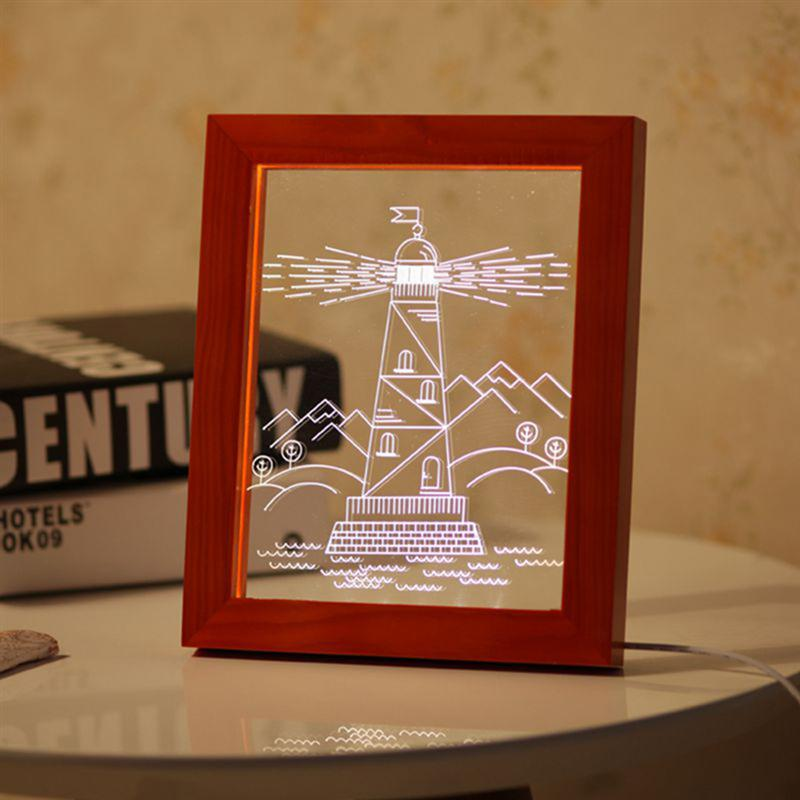 Wood Lighthouse Picture Frame Acrylic 3D Stereoscopic Vision Lamp USB Atmosphere Light LED Frame Night Light