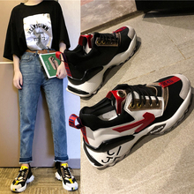 2019 Summer New Mixed Colors Wedge Platform Sneakers Lace-up Chunky Sneakers Harajuku Casual Dad Shoes Mesh Sports Shoes цена