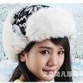 Mujeres Faux Fur Orejeras Sombreros de Navidad Ciervos Nieve Invierno Cálido Sombrero Hecho Punto 002