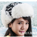 Women Faux Fur Ear Flaps Hats Christmas Deer Snow Winter Warm Knitted Hat 002