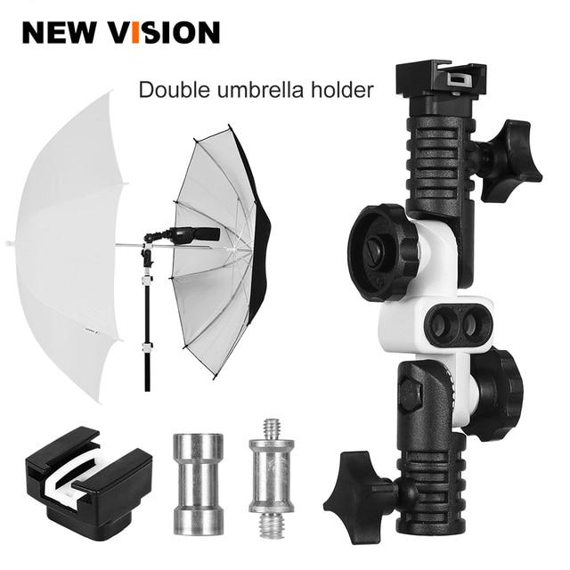 Soporte Universal de zapata para Flash, adaptador de zapata para disparador, soporte de paraguas doble, soporte giratorio de luz