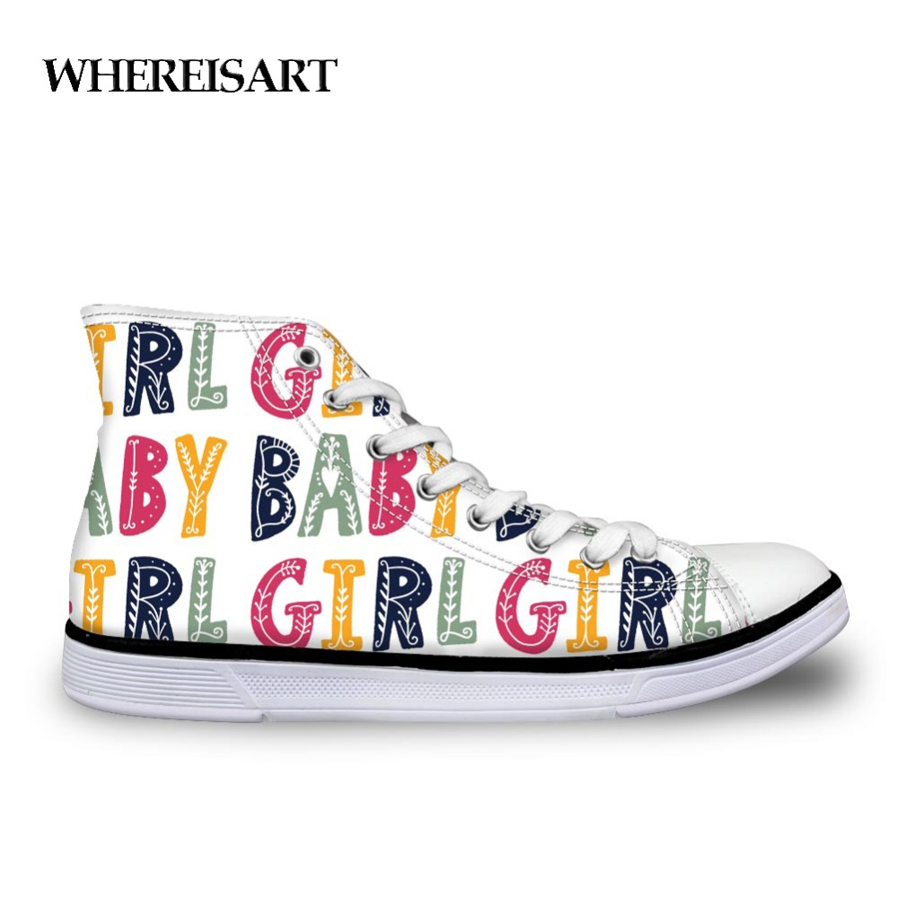 WHEREISART Women Vulcanize Shoes Colorful Letter Printed Sneakers Female High Top Canvas Shoes for Girls Leisure Shoes Student