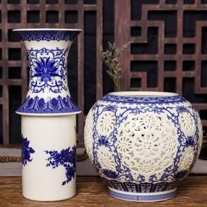 Image 4 - Jingdezhen Hollow Ceramic Vase Chinese Blue And White  Pierced Vase Living Room Decoration Porcelain Flower Vase