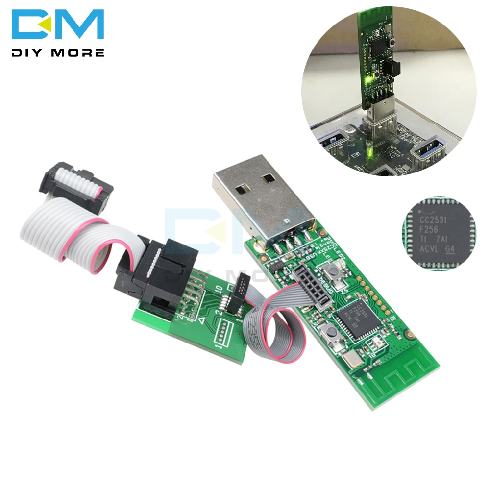 CC2531 Wireless Zigbee Sniffer Bare Board With Bluetooth 4.0 Dongle Capture Packet Module USB Programmer Downloader Cable