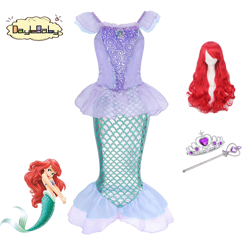 DAYLEBABY Little Mermaid Princess Ariel Costume Girl Dress Up Fancy Linda Dress Shiny Sequin Mermaid Tails Party Holiday Costume