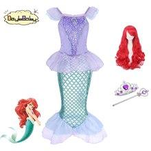 DAYLEBABY маленькая принцесса-Русалочка Ариэль костюм платье для девочек до Необычные Платье Линда блестящими пайетками Русалка хвосты вечерние праздничный костюм
