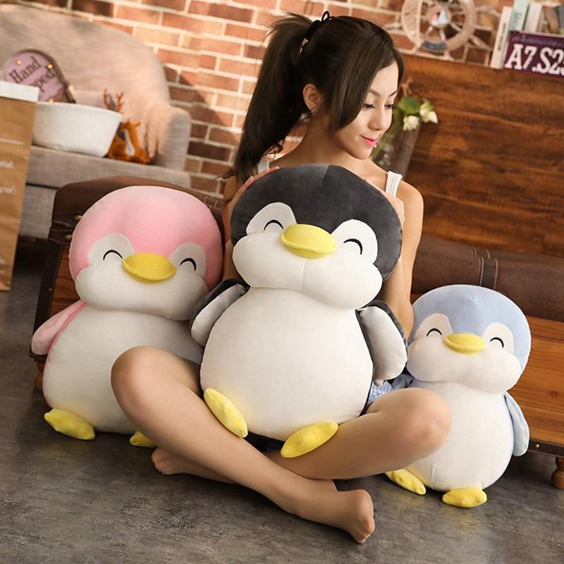 Супермягкая плюшевая игрушка пингвин 30 см/45 см/55 см, милая мультяшная зверушка, искусственная кукла для девочек, влюбленных, подарки на день ...