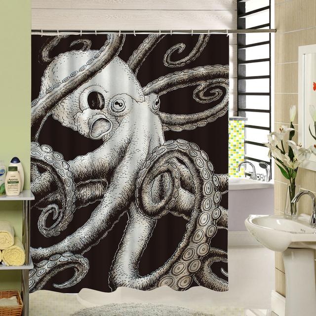 Polyester Shower Curtain Black And White 3d Bathroom Waterproof Mouldproof Textile Cloth Octopus Liner