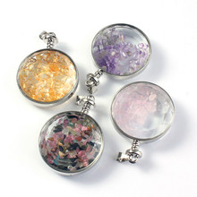 Kraft-beads Silver Plated Round Glass Wish Bottle Amethysts Stone Pendant Rose Pink Quartz Jewelry