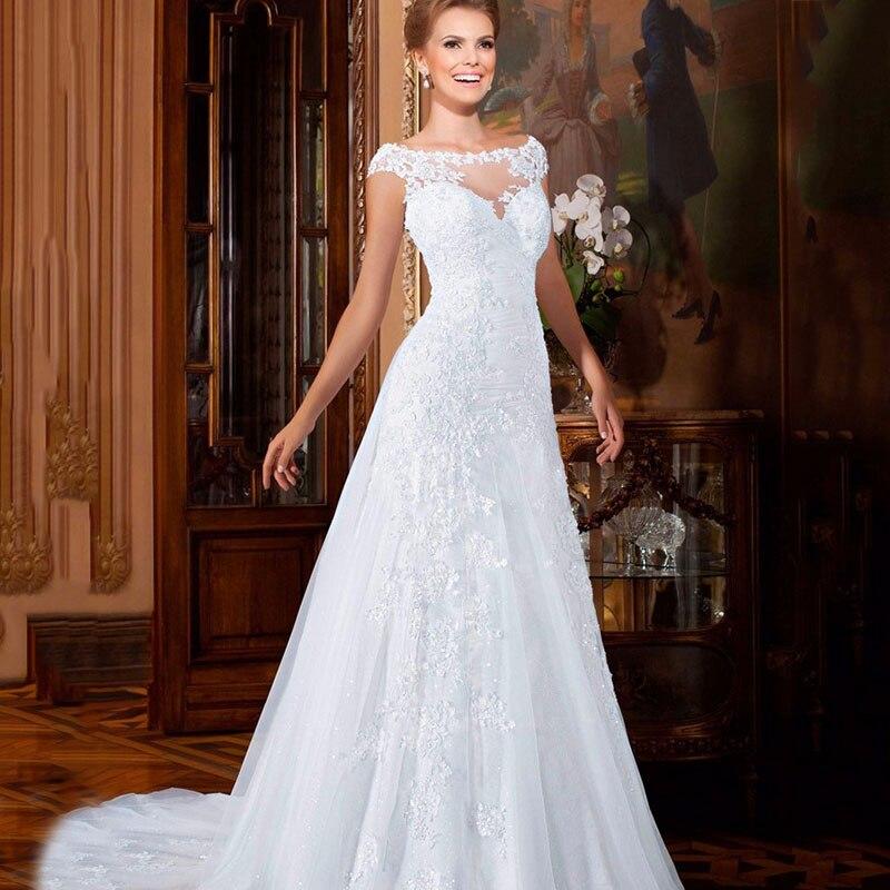 A Line Wedding Dress Romantic Long Lace Wedding Gowns