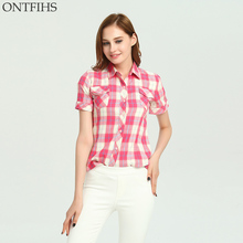 ONTFIHS Cotton shirts Women tops and Blouse Plaid & Checks Shirt casual kimono cardigan Slim Brand Women's tunic S-23