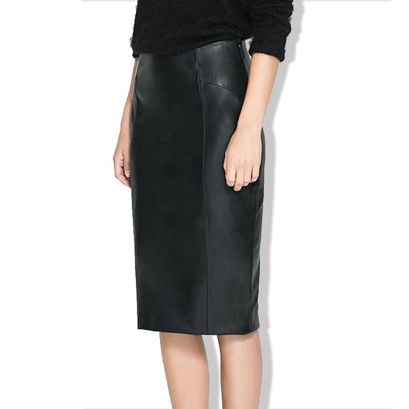 Fashion Customize Sexy Plus Size 2XS-10XL Natural Waist Black Midi-calf Skirt Faux Leather Red Khaki Skirt Faldas Mujer