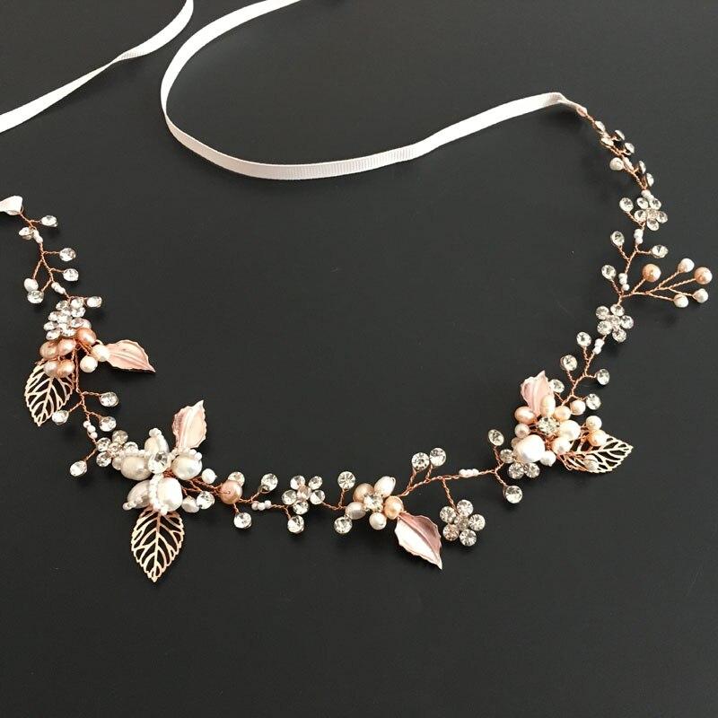 SLBRIDAL Rose Gold Wired Rhinestones Crystals Freshwater Pearls Wedding Headband Bridal Hair Vine Hair Accessories Bridesmaids недорого