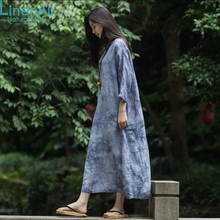 LinenAll Linen+cotton clothing women's little grey O-neck loose casual gown elegant fancy Linen and cotton dress gown female GSH