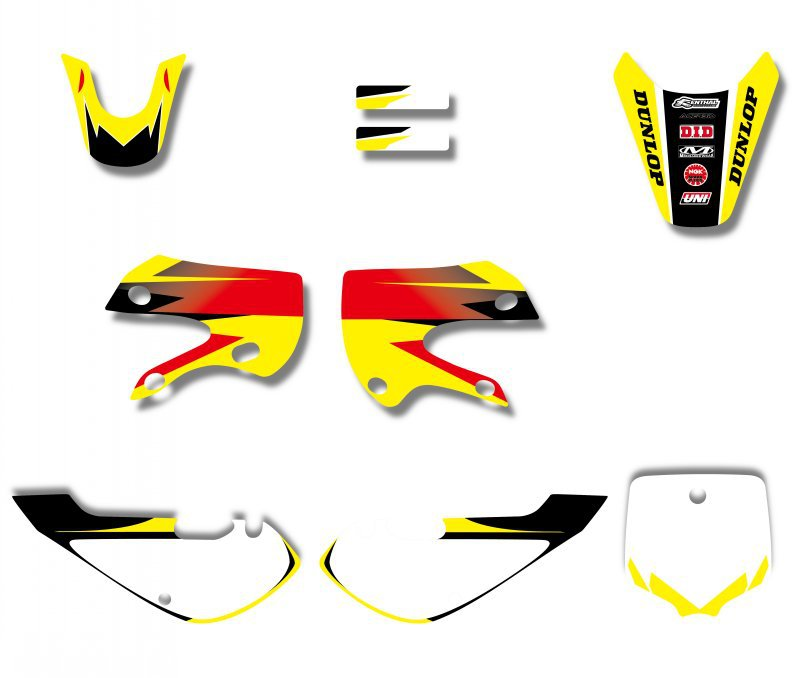H2CNC GRAPHICS & BACKGROUND DECAL STICKER Kits For Suzuki DRZ110 DRZ 110 Kawasaki KLX110 KX65 KX 65 KLX 110