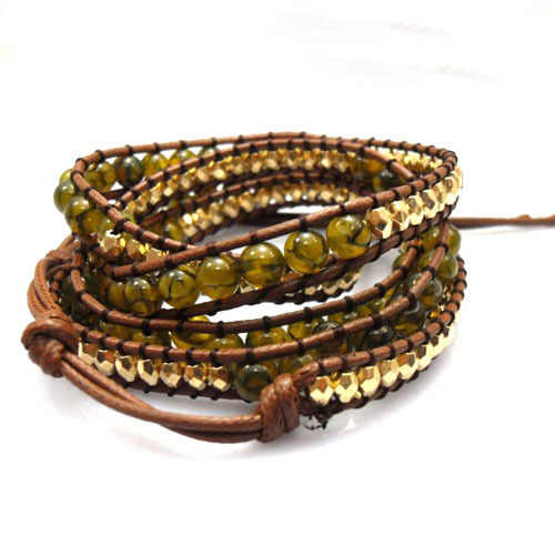 6mm yellow dragon bead wrap bracelet new design handmade wrap immitation leather bracelet